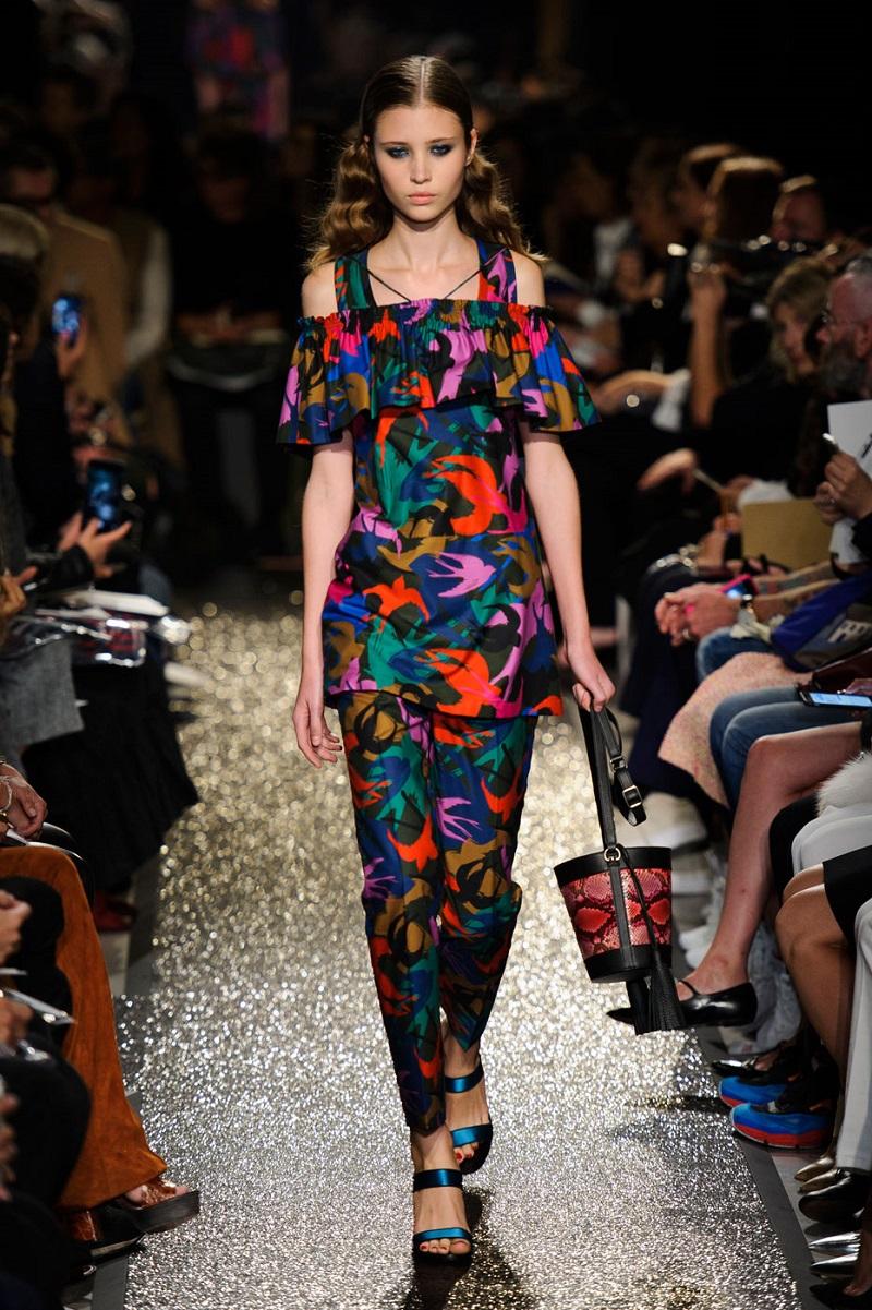 Sonia Rykiel Swallow camouflage-print satin top