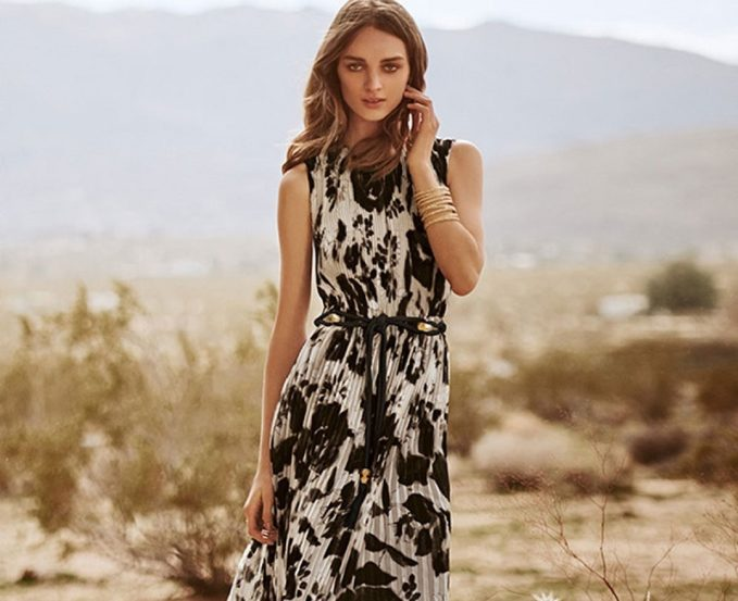 St. John Collection Floral Pleated Sleeveless Maxi Dress -