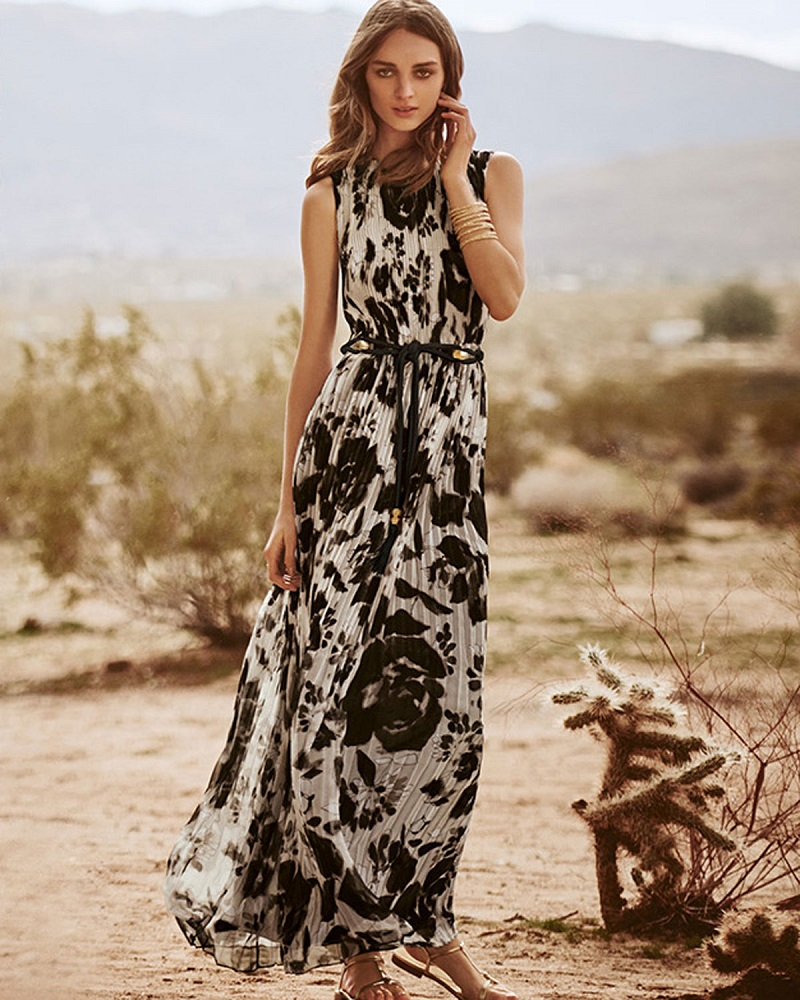St. John Collection Floral Pleated Sleeveless Maxi Dress