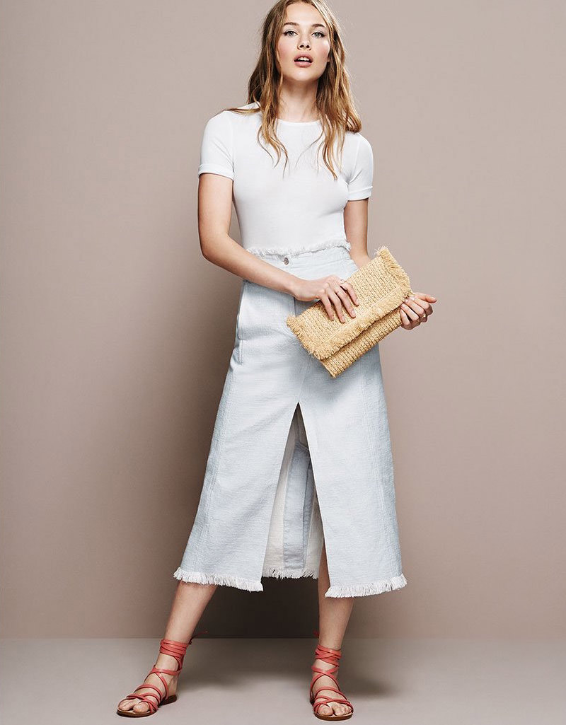 T by Alexander Wang Frayed Long Skirt