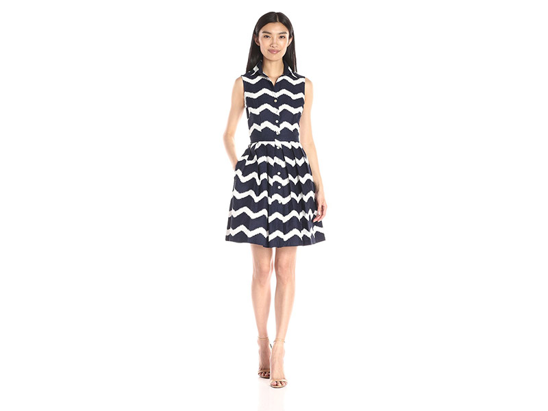Taylor Dresses Fit-and-Flare Zigzag Shirt Dress
