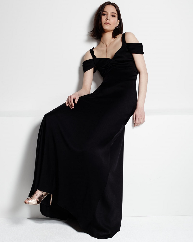 Theia Cold-Shoulder Open-Back Gown