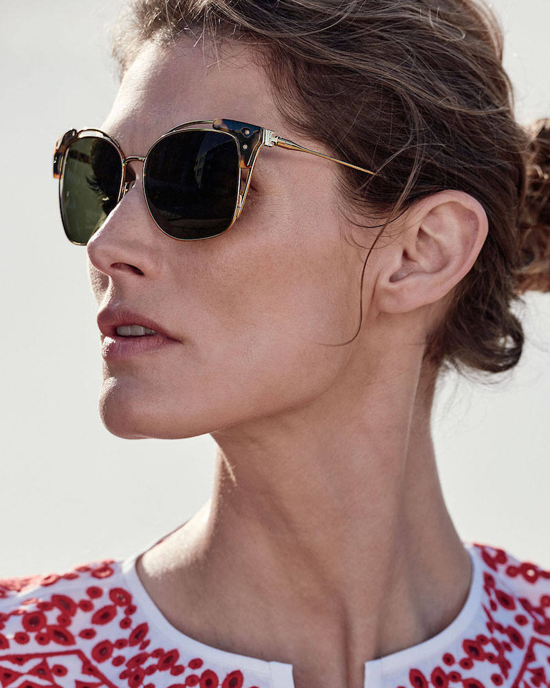 Tory Burch Open-Inset Monochromatic Cat-Eye Sunglasses