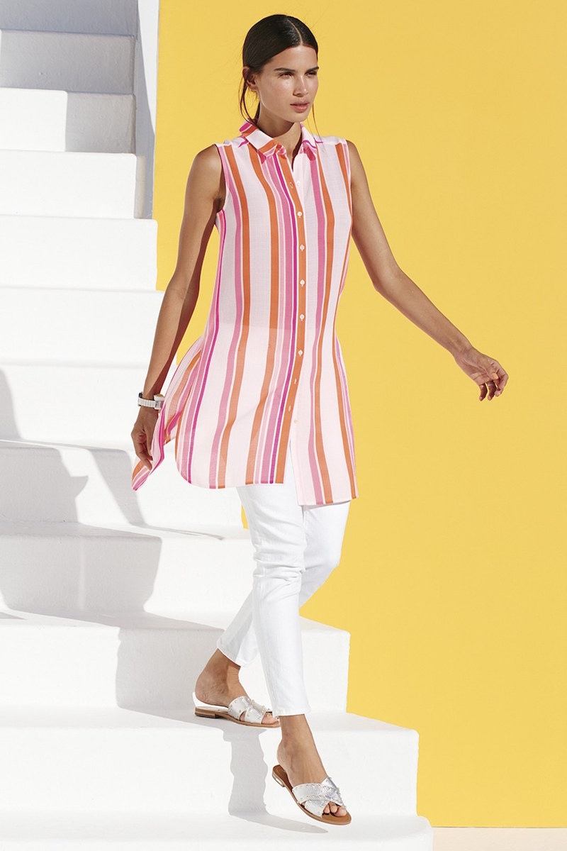 Two by Vince Camuto Garden Stripe Sleeveless Tunic