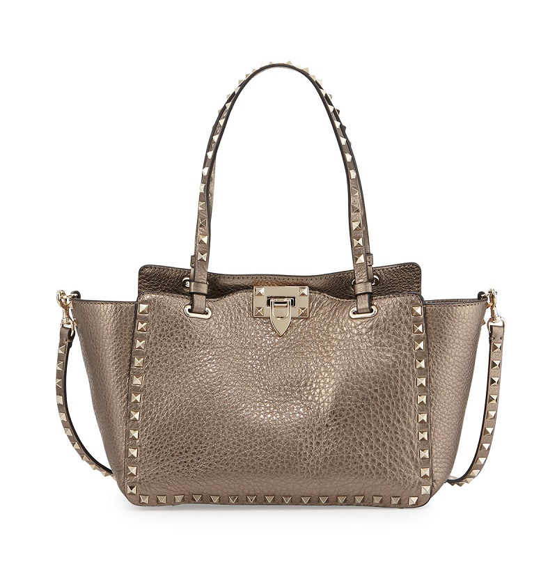 Valentino Rockstud Metallic Small Tote Bag