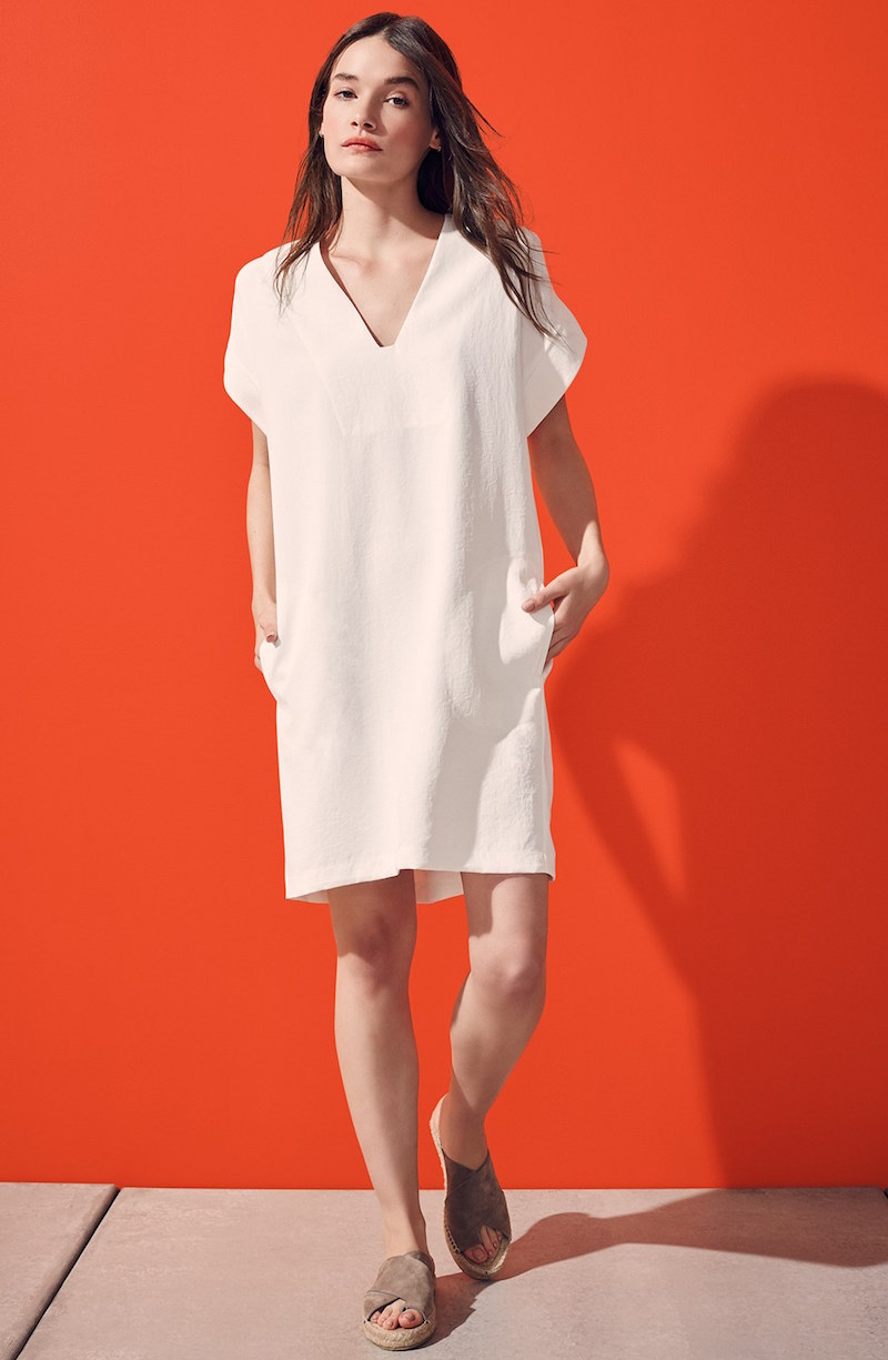 Vince Roll Sleeve Popover Dress