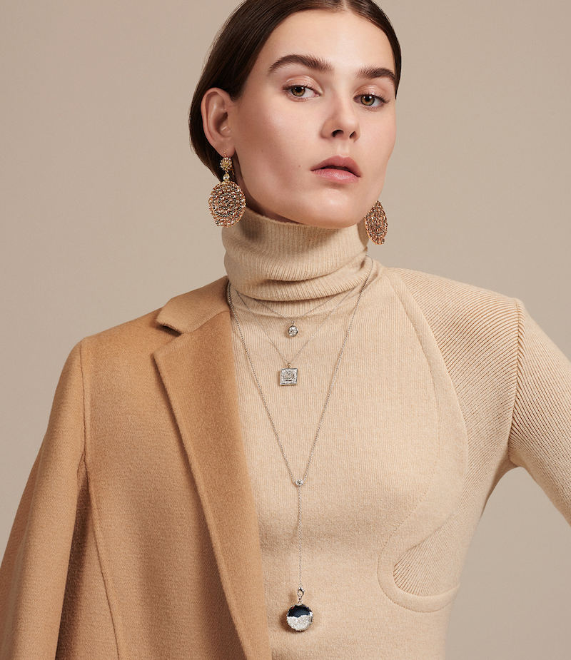 Renee Lewis White-Diamond Double-Strand Charm Necklace