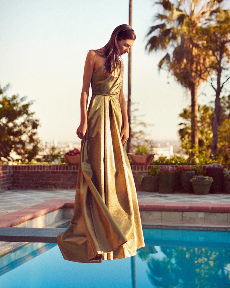 mytheresa.com x Carolina Herrera One-shoulder Metallic Gown