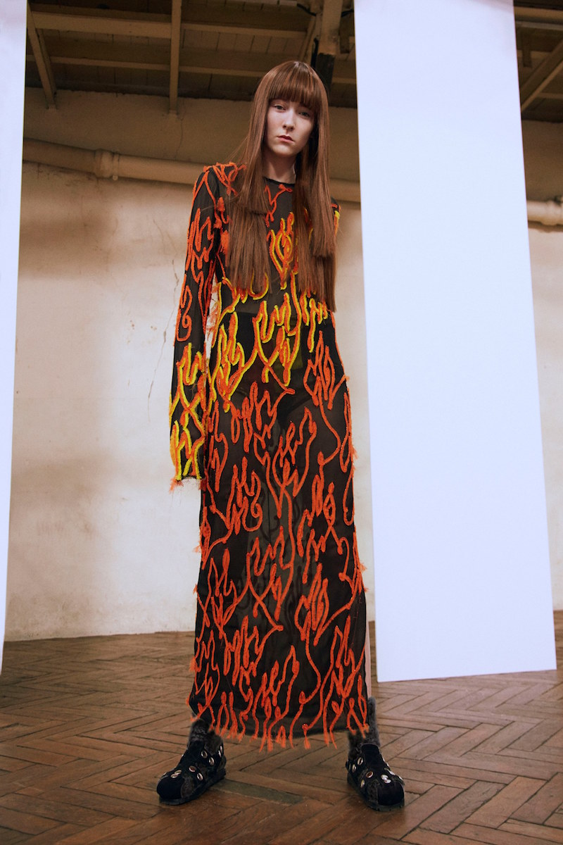 Acne Studios Elja Flame Embroidered Dress