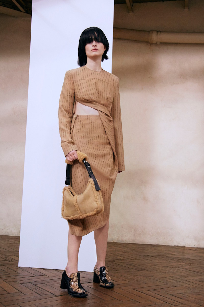 Acne Studios Pate Pinstripe Asymmetrical Hem Skirt