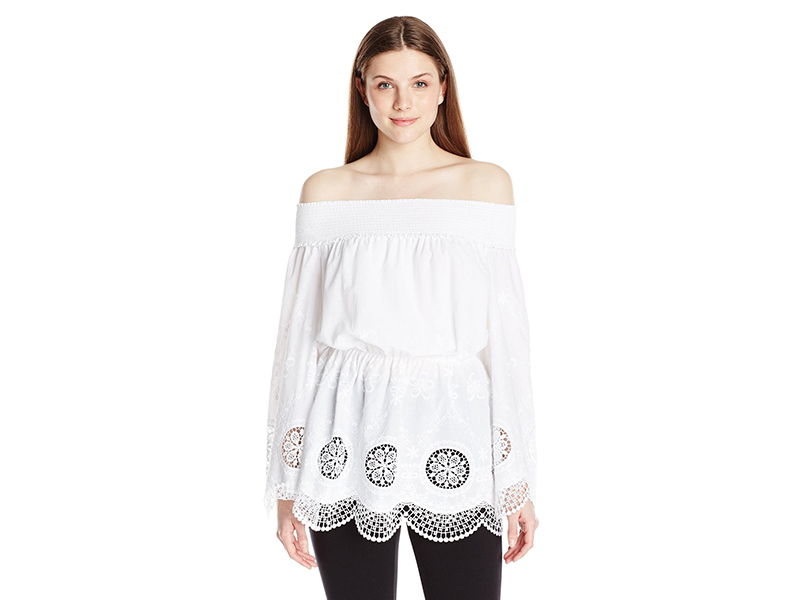 Adrianna Papell Embroidery Voile Off Shoulder
