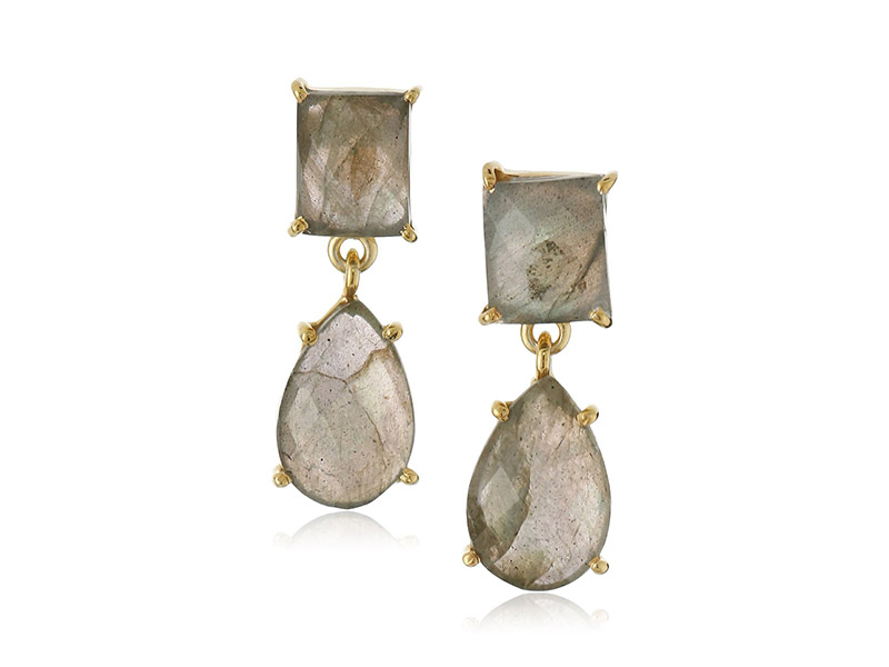 Amazon Collection Gold Over Silver Prong Set Labradorite Drop Earrings