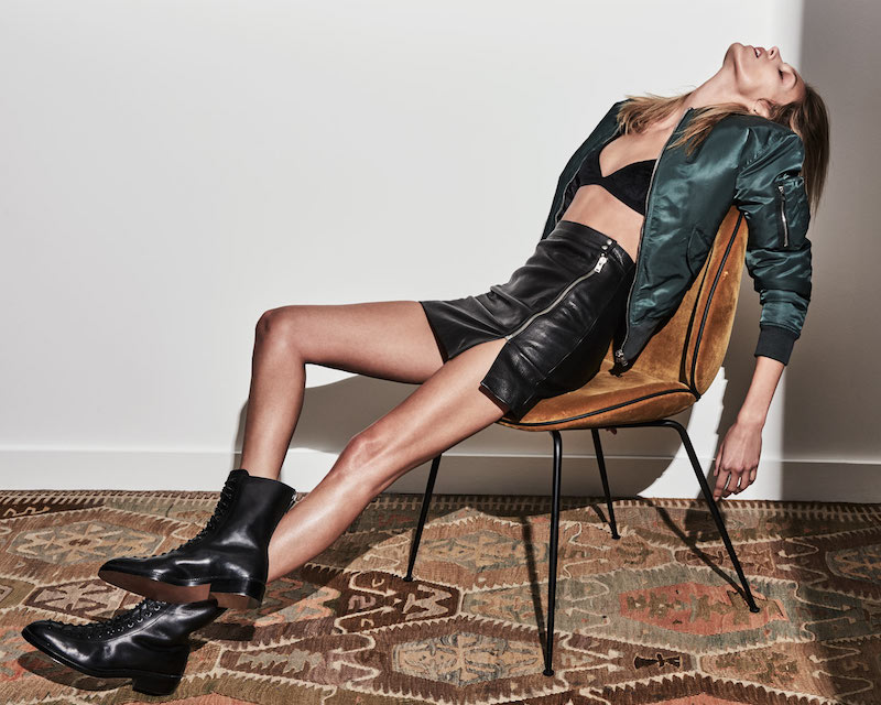 Anja Rubik x IRO Patti Textured-leather Mini Skirt