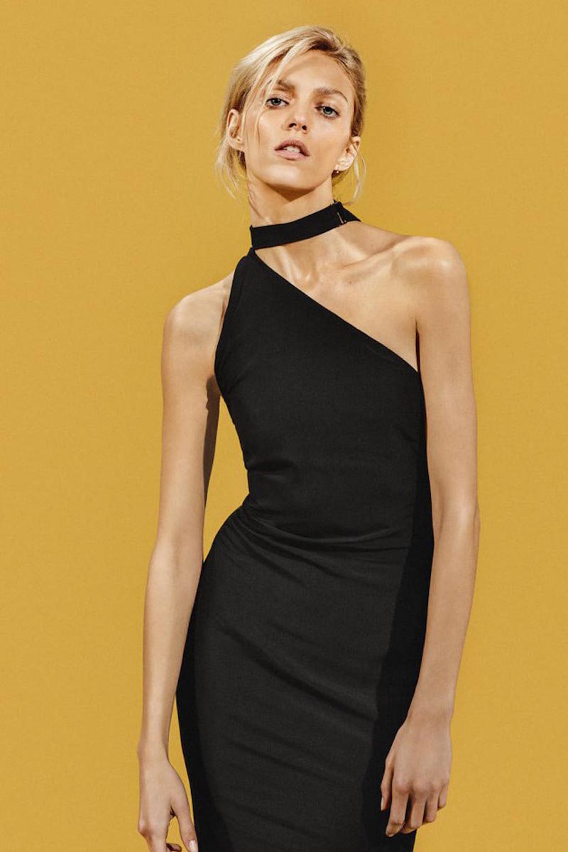 Anja Rubik x IRO Solly One-shoulder Stretch-crepe Dress