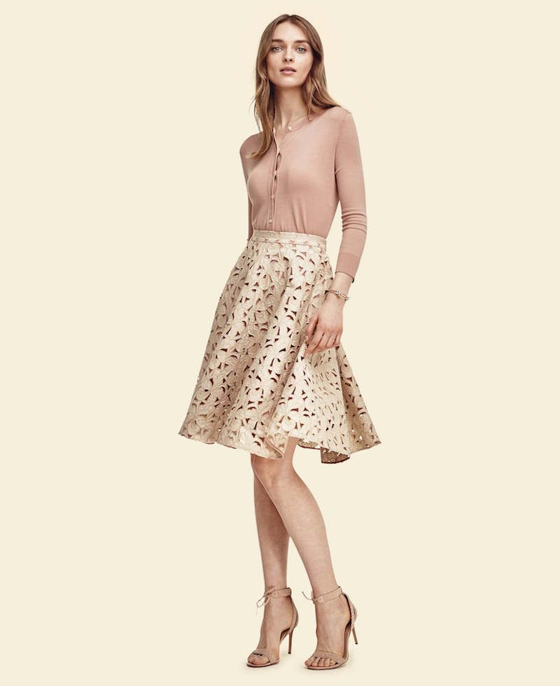Ann Taylor Floral Cut Full Skirt
