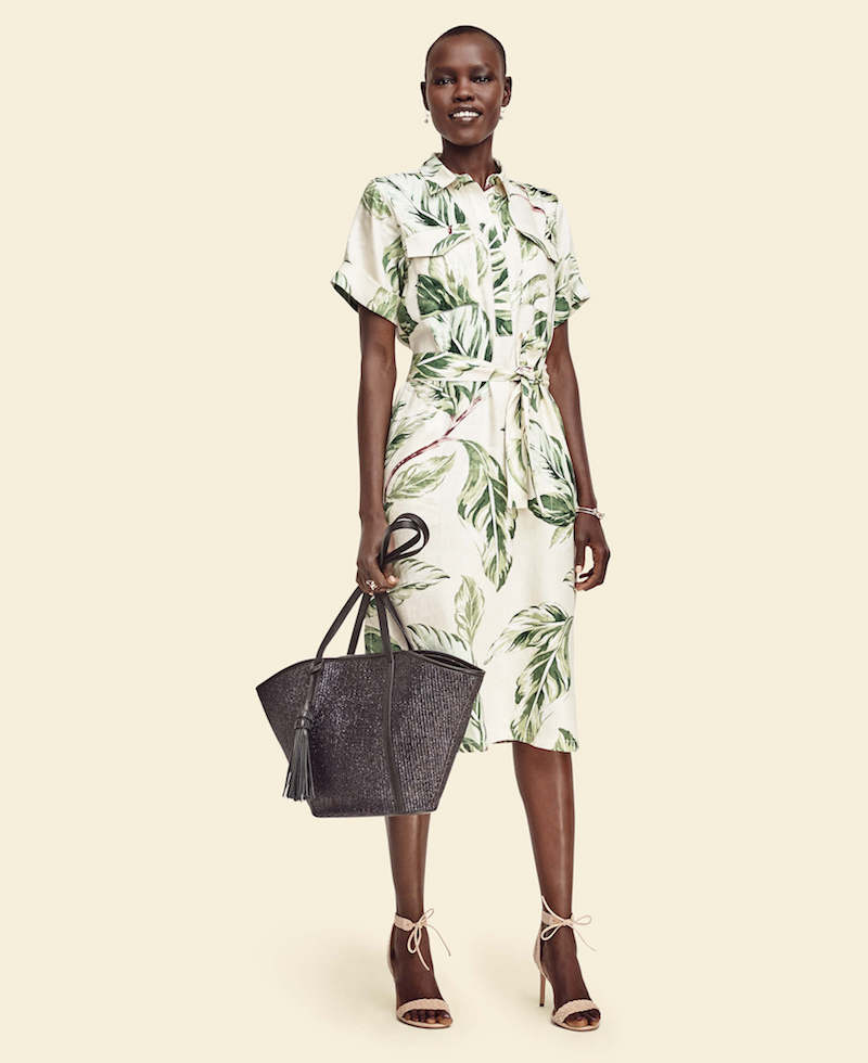 Ann Taylor Leafy Linen Blend Shirtdress