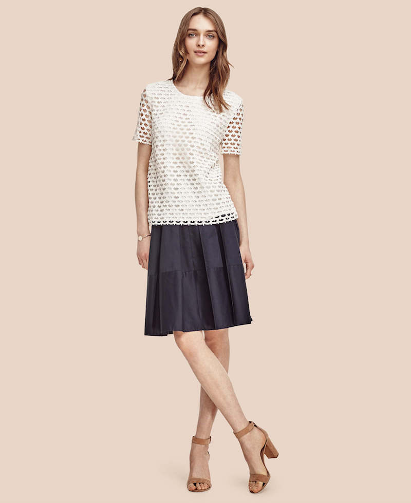 Ann Taylor Pleated Poplin Skirt