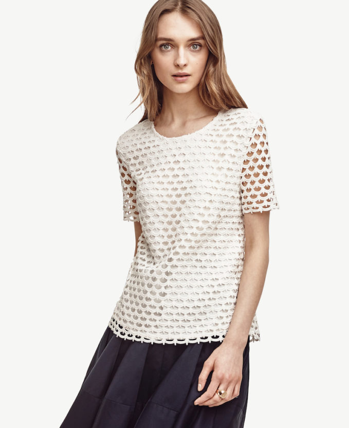 Ann Taylor Scalloped Lace Tee