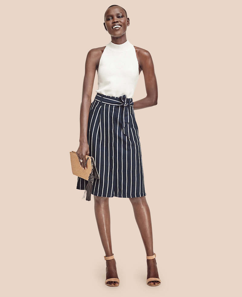 Ann Taylor Striped Belted Skirt