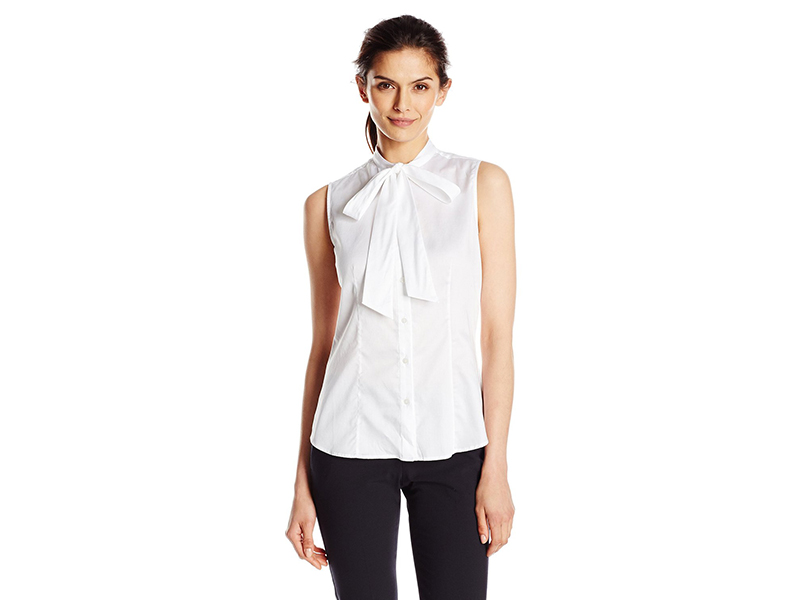 Anne Klein Cotton Bow Blouse