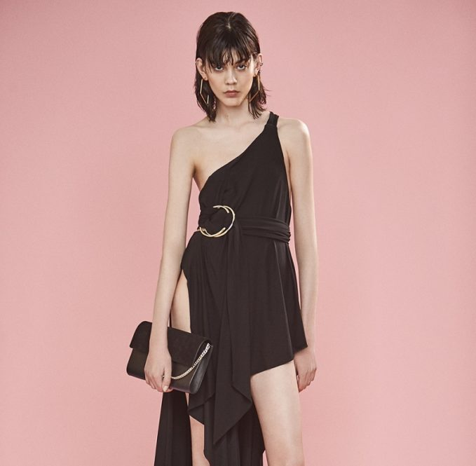 Anthony Vaccarello Double Ring Draped One Strap Gown-