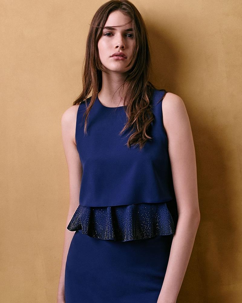 Armani Collezioni Embroidered-Peplum Popover Dress-