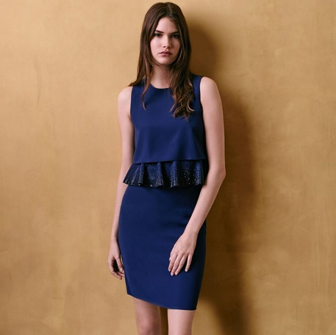 Armani Collezioni Embroidered-Peplum Popover Dress