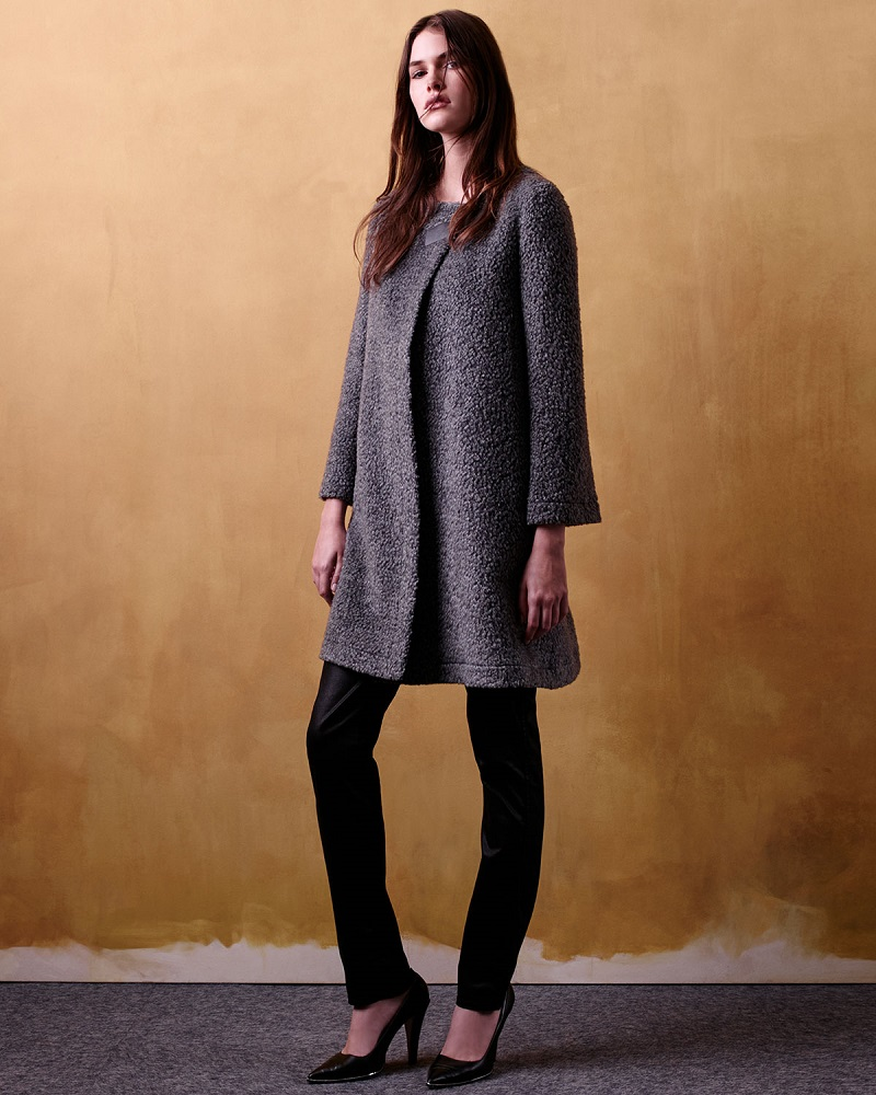 Armani Collezioni Long-Sleeve Boucle Trapeze Coat