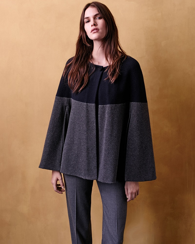 Armani Collezioni One-Button Colorblock Cape