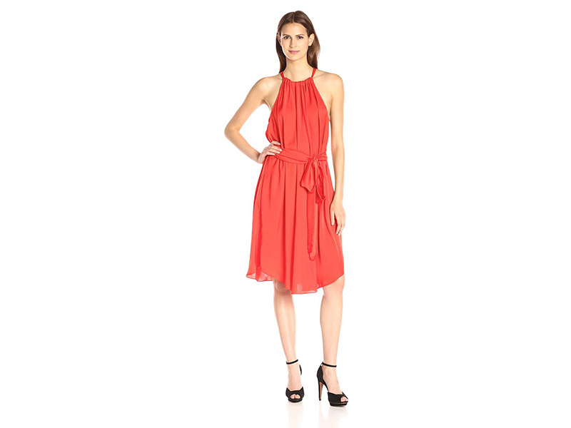 BCBGMax Azria Britan Belted Halter Dress