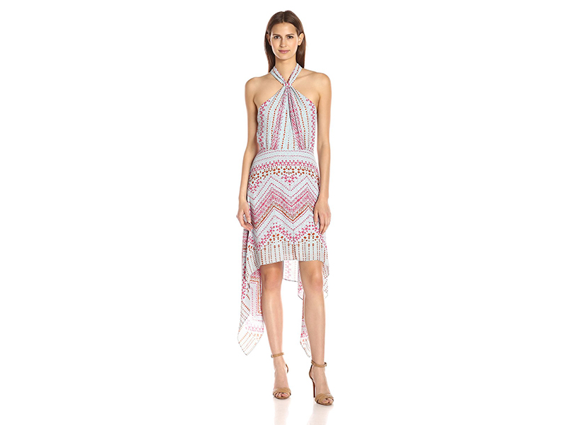 BCBGMax Azria Danela Printed Crossover Hi Low Hem Dress