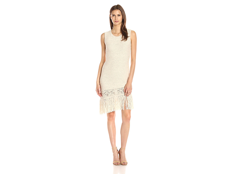 BCBGMax Azria Jocelynn Asymetric Hemline with Fringe Dress