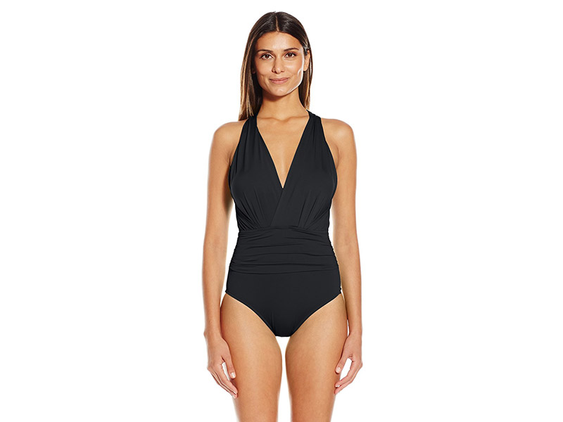 Badgley Mischka Solid Dip-Back Maillot One-Piece Swimsuit