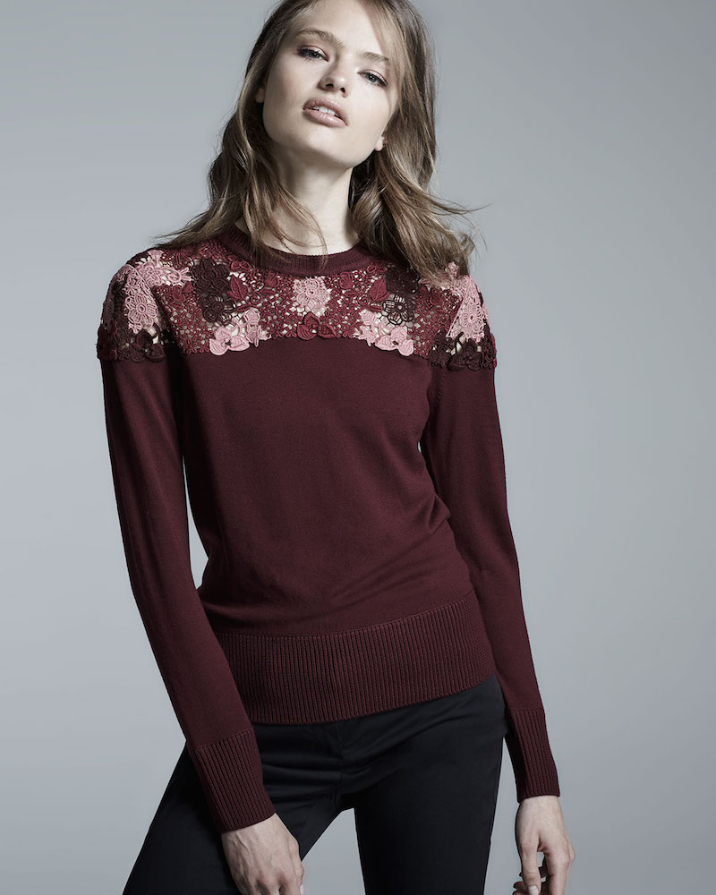 Burberry London Long-Sleeve Lace-Yoke Sweater in Deep Claret