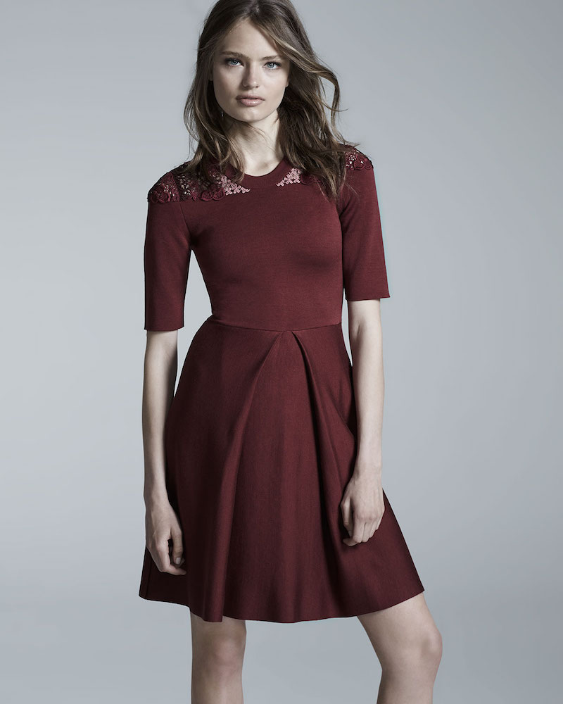Burberry London Macrame-Yoke Half-Sleeve Dress