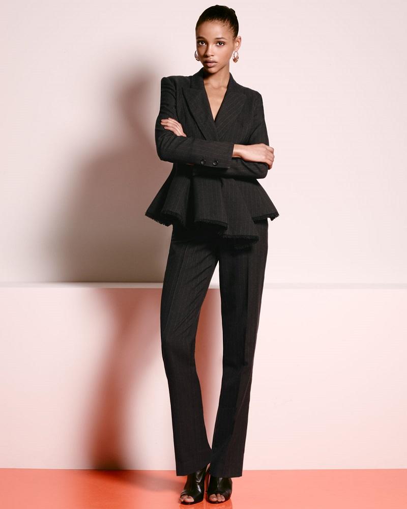 Carolina Herrera Chalk-Striped Peplum Jacket