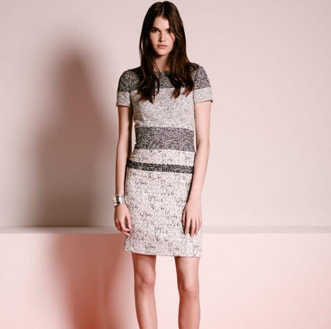 Carolina Herrera Short-Sleeve Striped-Tweed Sheath Dress