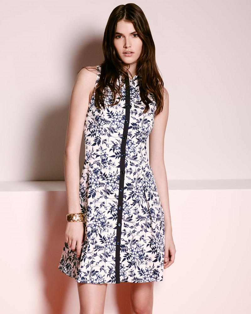 Carolina Herrera oile de Jouy Sleeveless Floral-Print Shirtdress