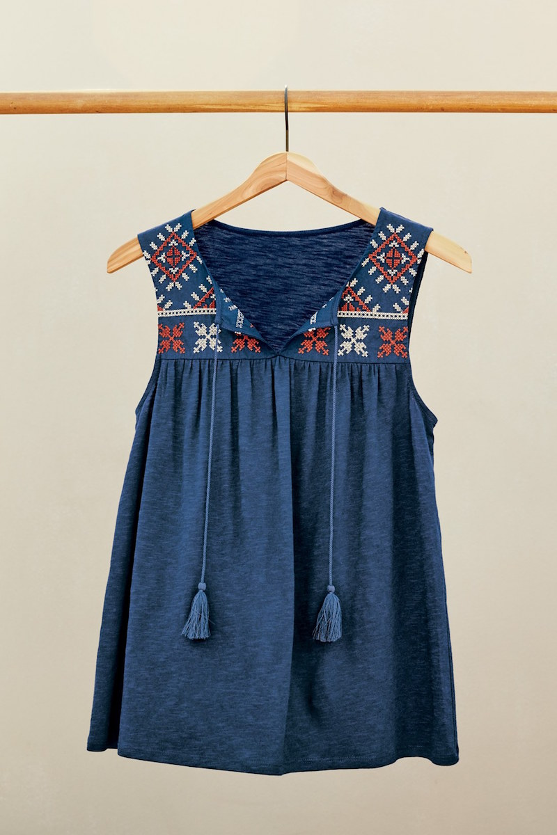Caslon Embroidered Boho Tank