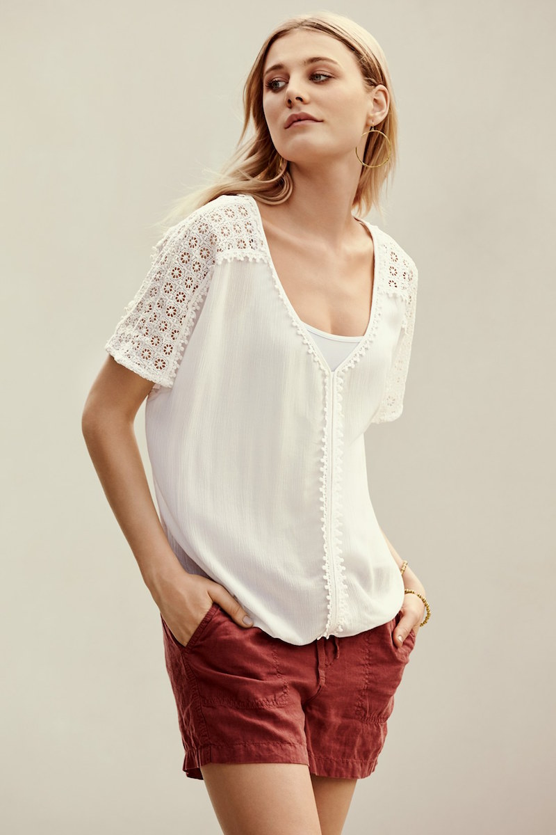 Caslon Lace Trim V-Neck Gauze Boho Top