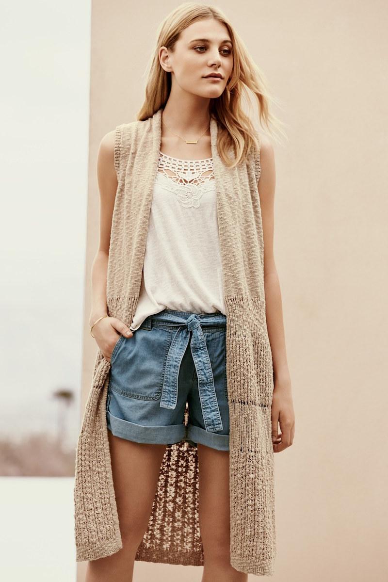 Caslon Mixed Stitch Long Sweater Vest
