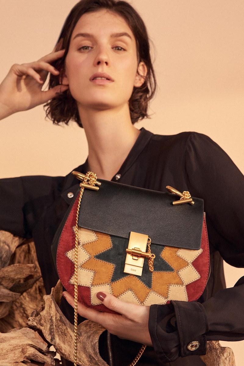 Chloé Drew Wonder Woman Patchwork Suede & Leather Shoulder Bag