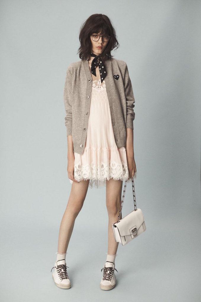 Chloé Smocked Georgette & Lace Dress