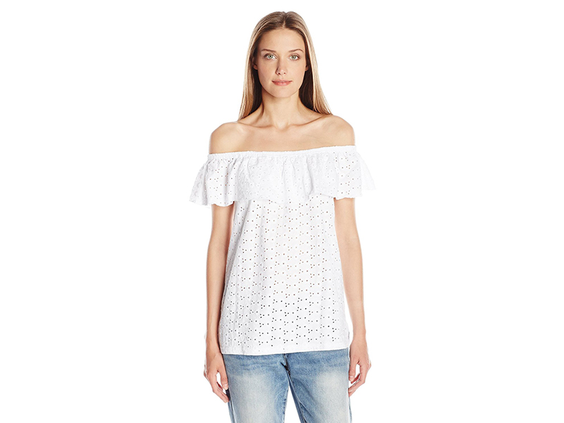 Democracy Shifley Embroidered Knit Elastic Off Shoulder Ruffled Flounce Top