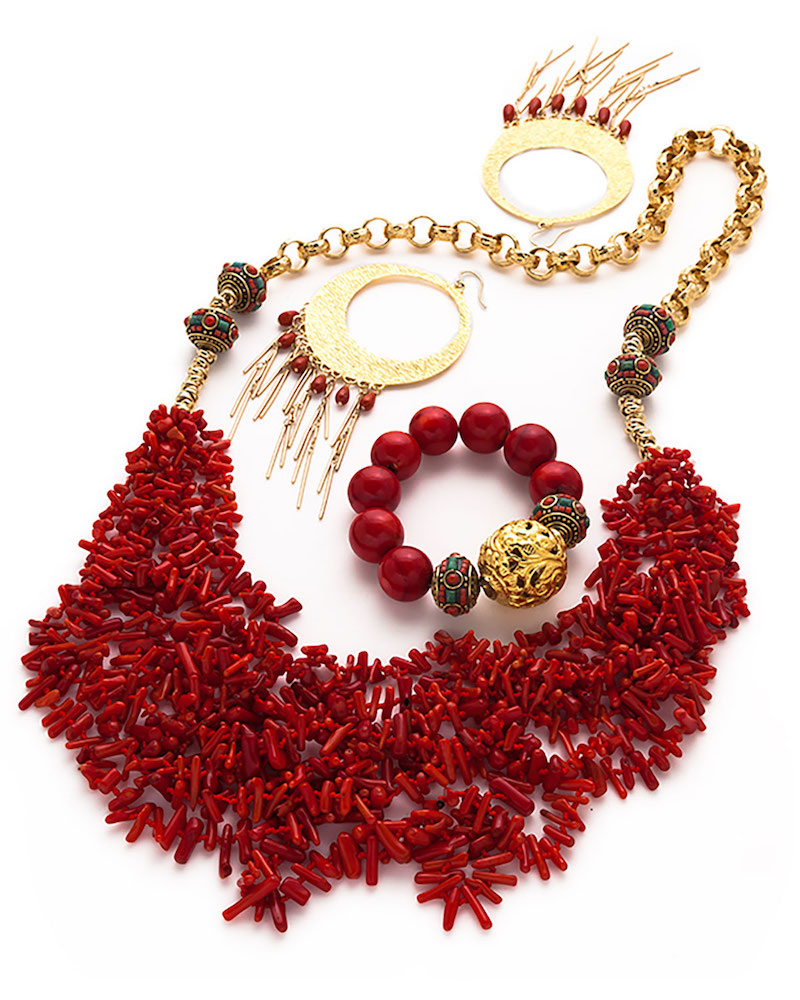 Devon Leigh Long Multi-Strand Coral Necklace