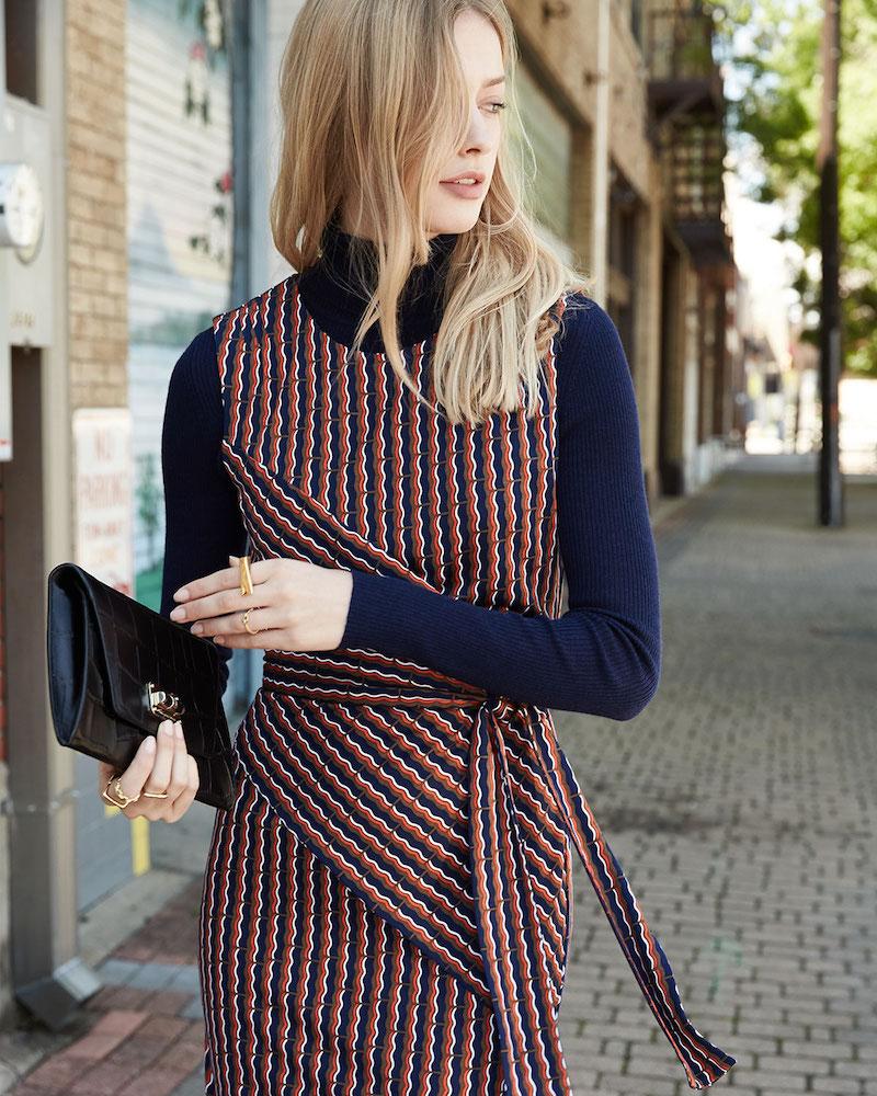 Diane von Furstenberg Ashlie Sleeveless Rickrack Stripe Silk Dress
