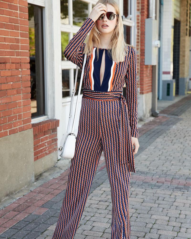 Diane von Furstenberg Starla Long-Sleeve Rickrack Stripe Jumpsuit