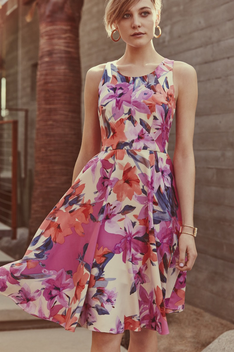 Donna Morgan Floral Print Woven Fit & Flare Dress