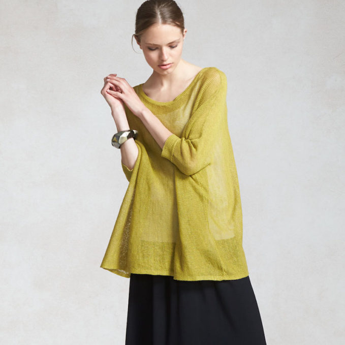 Eileen Fisher 3/4-Sleeve Organic Linen Mesh Box Top