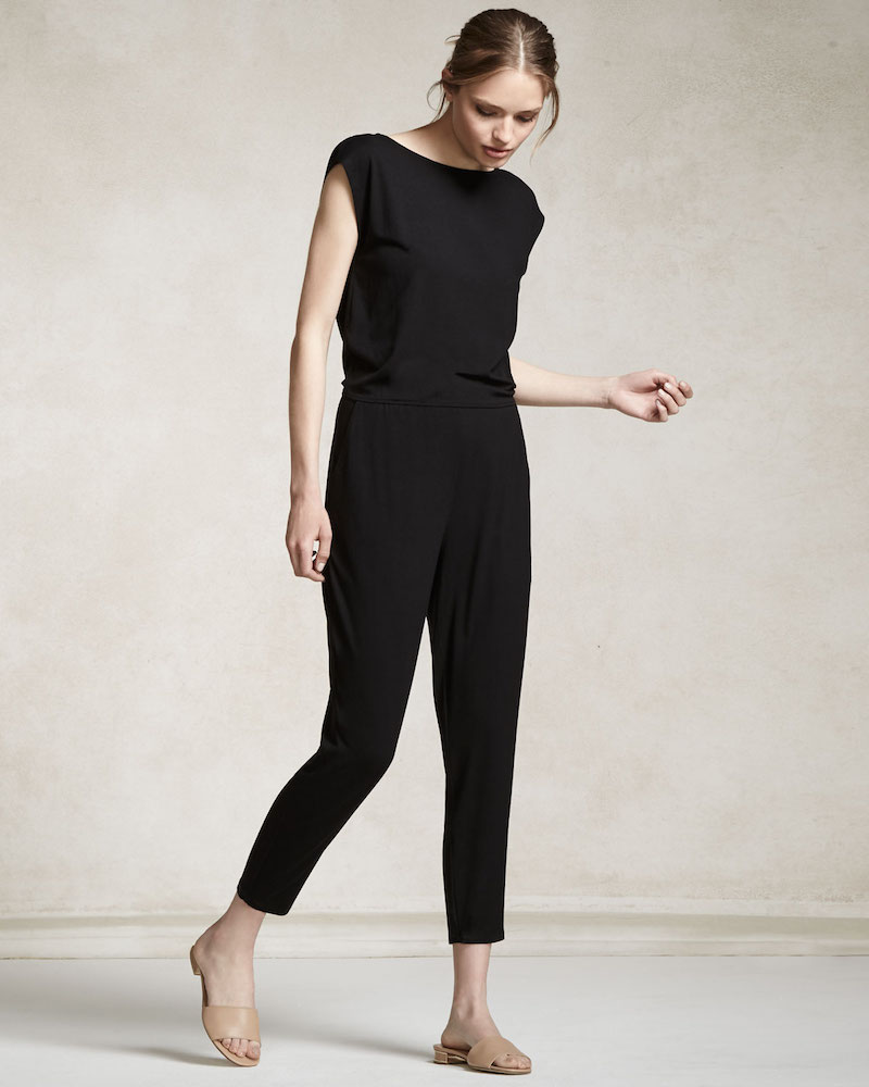 Eileen Fisher Cap-Sleeve Bateau-Neck Jumpsuit